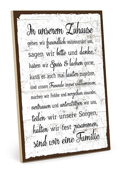 TypeStoff Holzschild mit Spruch – Familie Regeln HAUSORDNUNG – Shabby chic  Retro Vintage Nostalgie deko Typografie-Grafik-Bild bunt im Used-Look aus  ...