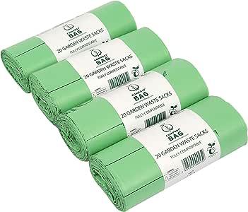 80 litros x 80 bolsas compostables jardín de basura bolsas – Basura – en 13432 – Biobags 80L bolsas de basura con Guía de compostaje: Amazon.es: Hogar