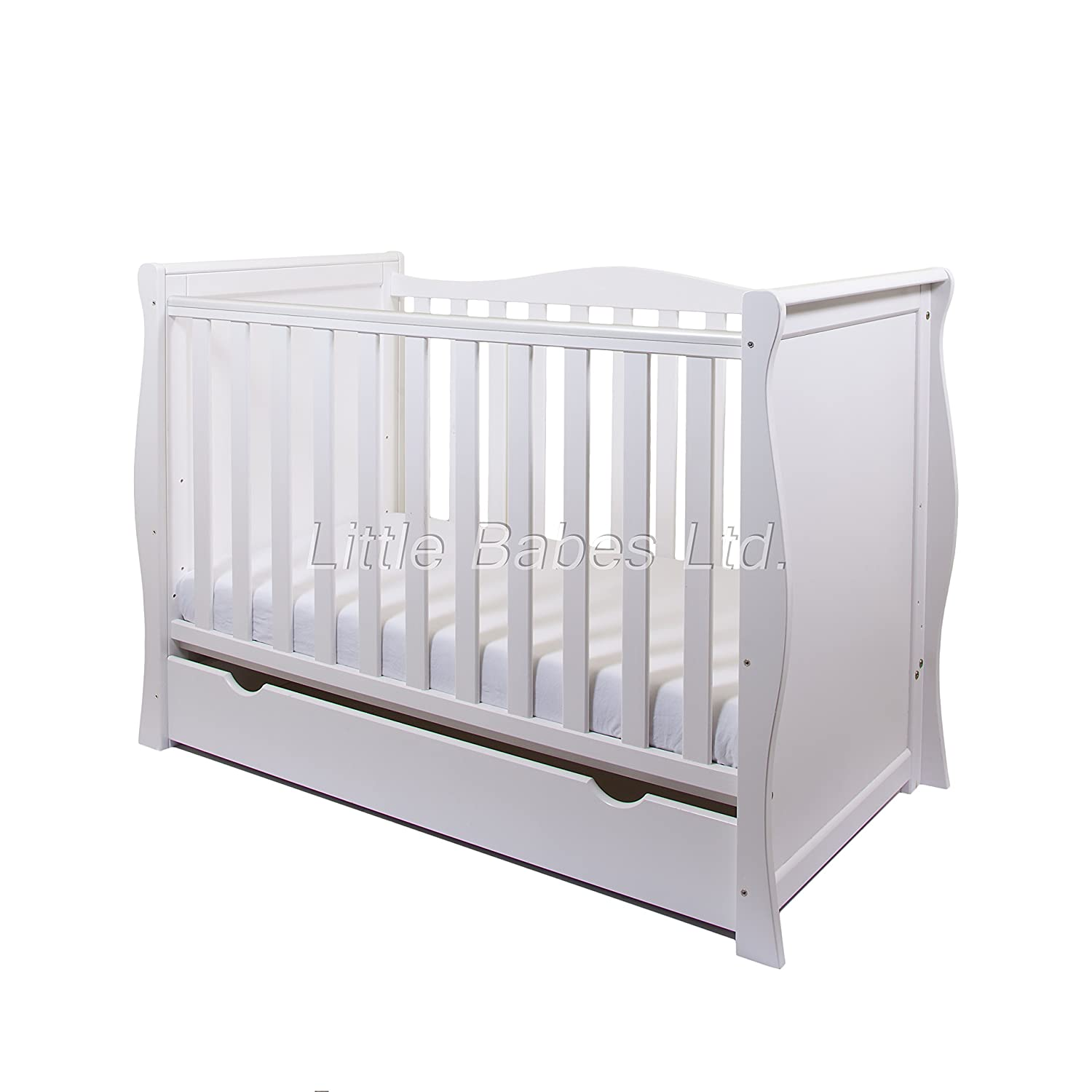 NEW PINEWOOD WHITE SLEIGH MINI COT BED & DRAWER + BRITISH MADE HIGH DENSITY FOAM SAFETY MATTRESS 4'' LITTLE BABES LTD