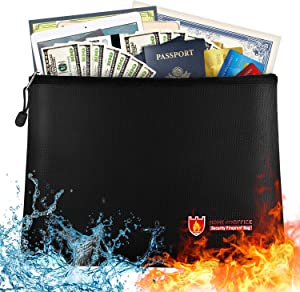 """Large Fireproof Document Bag - 13.7""""x 9.8"""" Water Resistant Fireproof Pouch, Fireproof Safe Storage Money Bag for A4 Document Holder,Cash,File,Tablet,Passport and Valuables"""