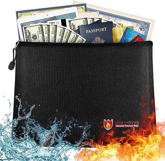 Money Bag Envelope Safe Document Bag File Pouch Case Fireproof Water Resistant