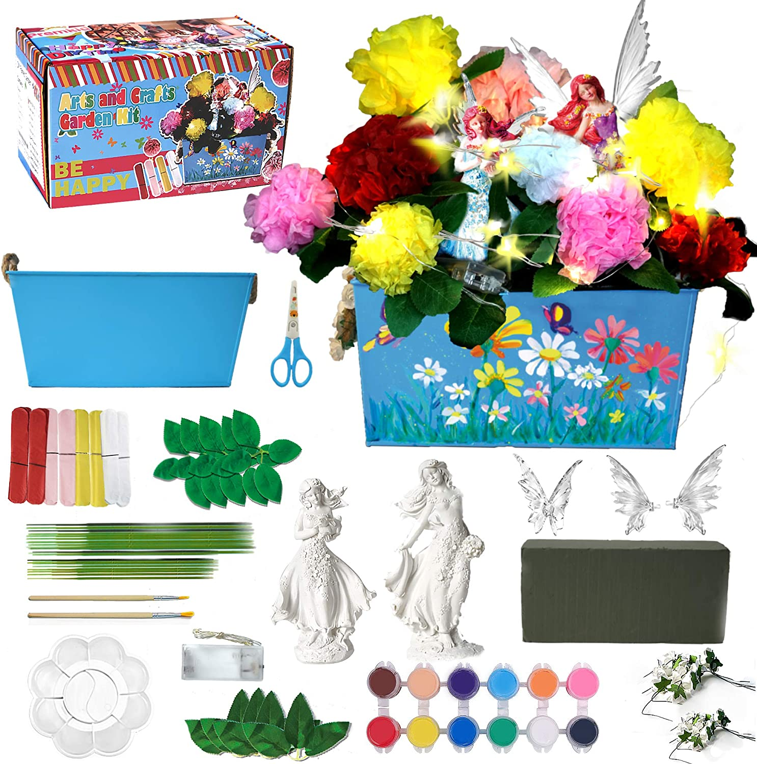 Premkid Fairy Garden Craft Kit & Paint Arts Crafts Set for Kids All Ages Both Girls and Boys Children Toy Set Kits DIY Make Your Own Fairy Garden