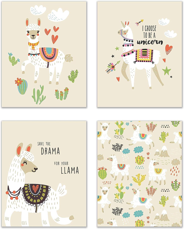 Drama Llama Prints - Set of 4 (8x10) Glossy Sassy Funny Minimalist Bedroom Office Wall Art Decor