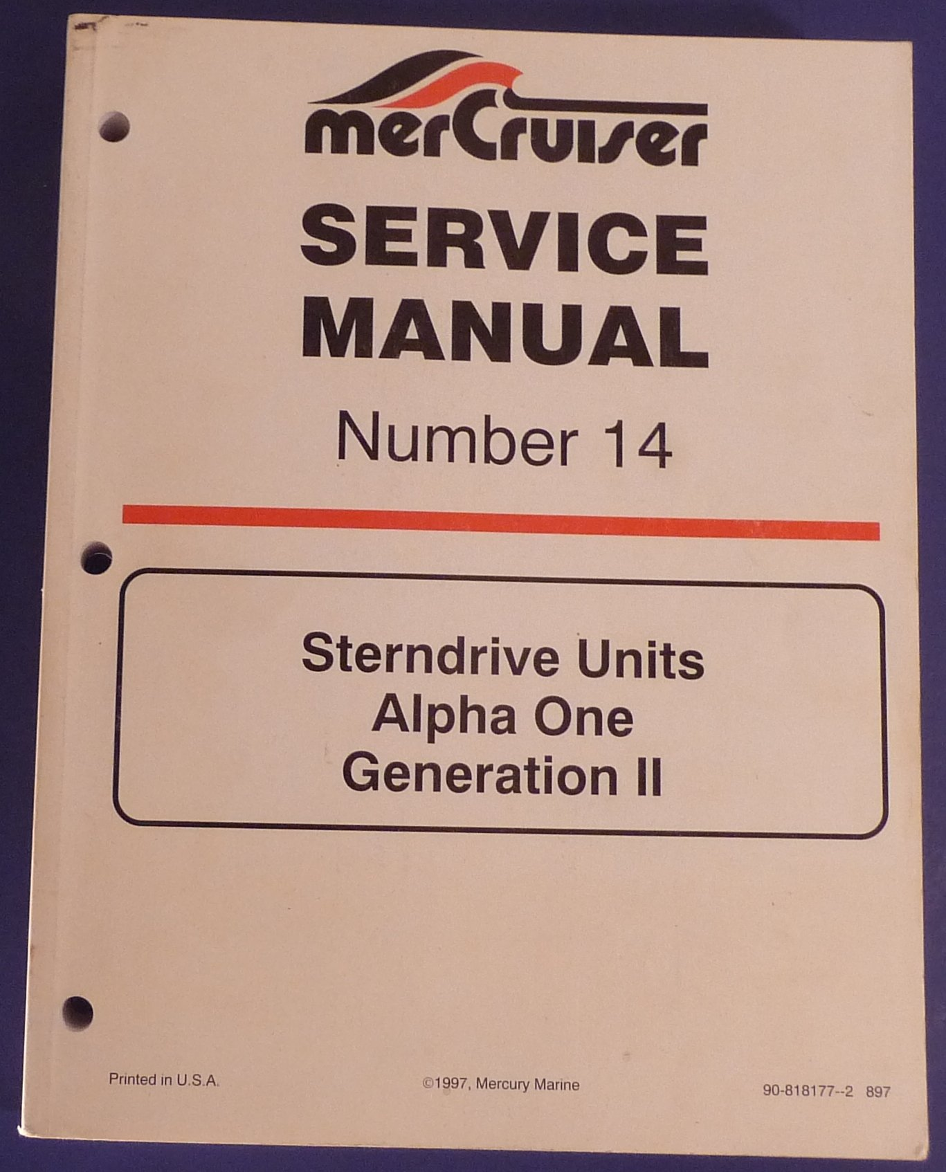 MerCruiser Service Manual Number 14 Sterndrive Units Alpha One Generation  II: Service Department of Mercury Marine: Amazon.com: Books