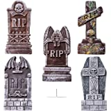 "JOYIN 17"" Halloween Foam RIP Graveyard Tombstones (5 Pack), Headstone Decorations and 12 Bonus Metal Stakes for Halloween Yar"