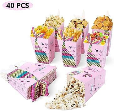 Maojuee 40 Pcs Sirena Caja de Palomitas Caja de Pop Corn Box ...