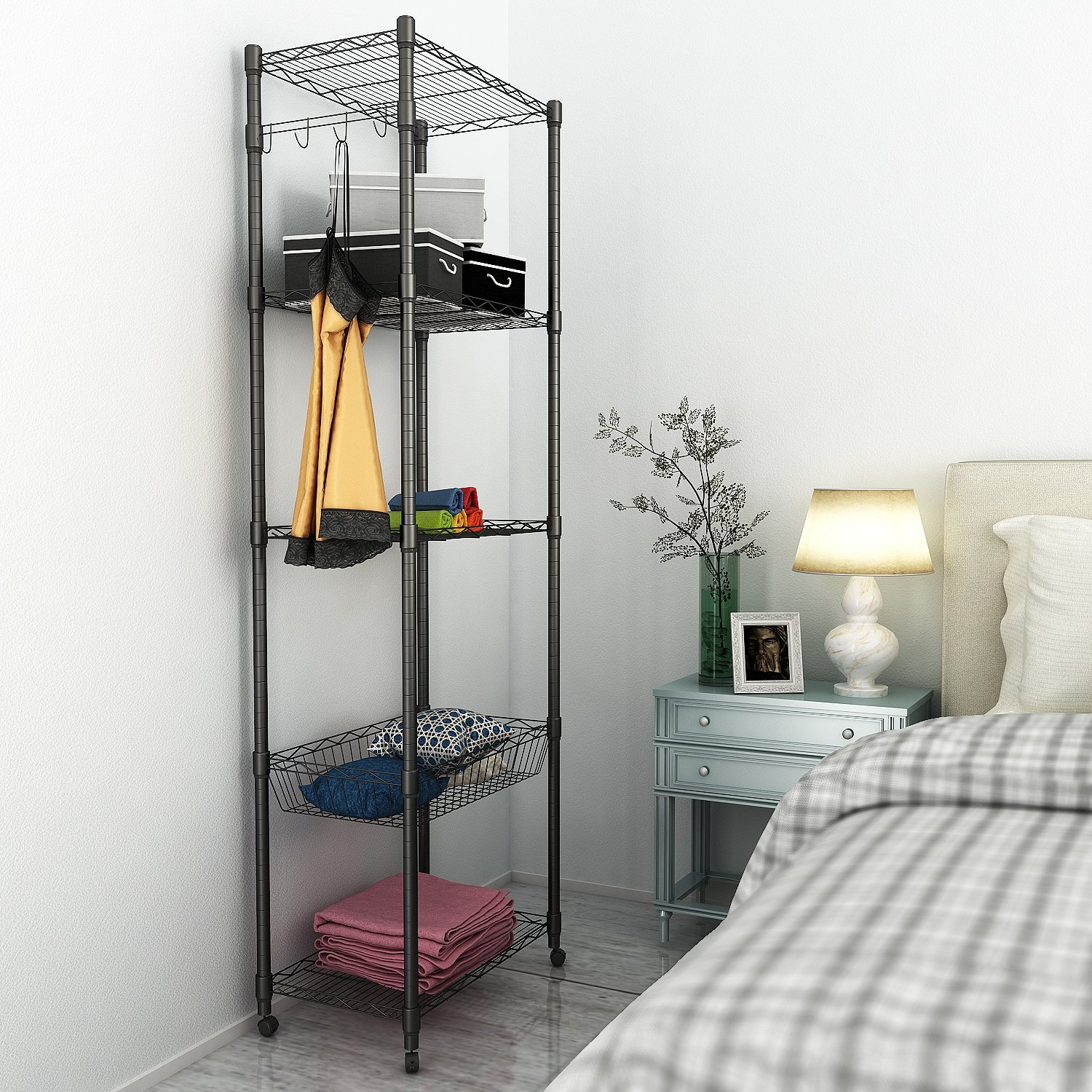 5 Tier Steel Wire Shelving with Wheels, Shelving Storage Organizer Rack for Kitchen Bathroom Balcony Living Room 71inch - Black [US STOCK] by ferty (Image #2)