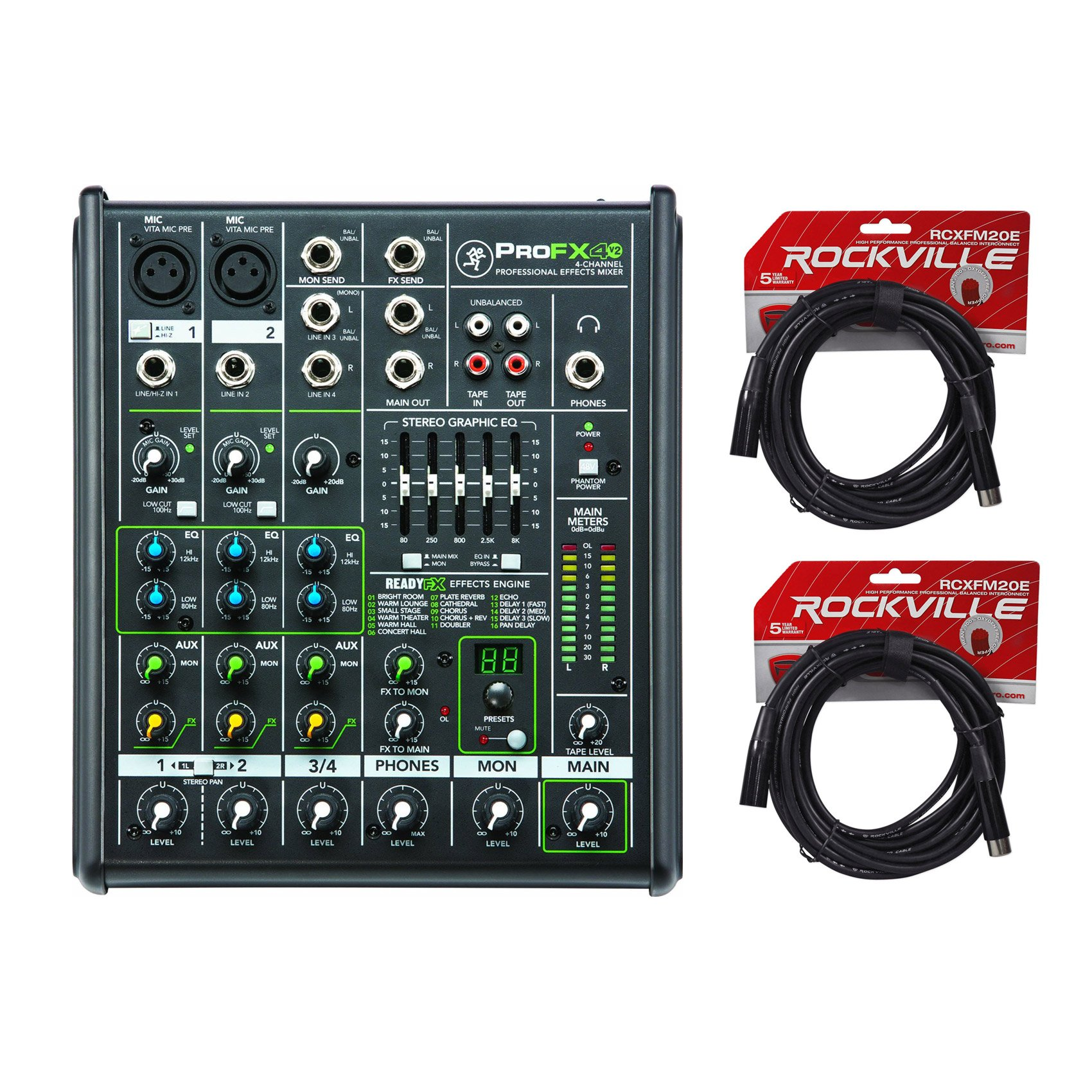 New Mackie PROFX4v2 4 Channel Compact Mixer w Effects PROFX4 V2 + (2) XLR Cables