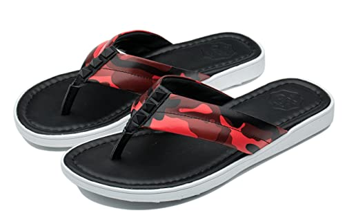 3099ecfadf48b Ocean Pacific OPP Men s Flip Flops Leather Sandals Summer Beach Slippers(Red  6 D(