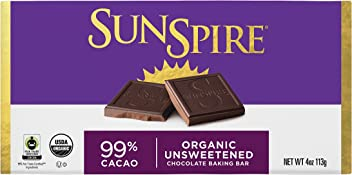 SunSpire Organic Fair Trade 99% Cacao Unsweetened Baking Bar, 4 Ounce