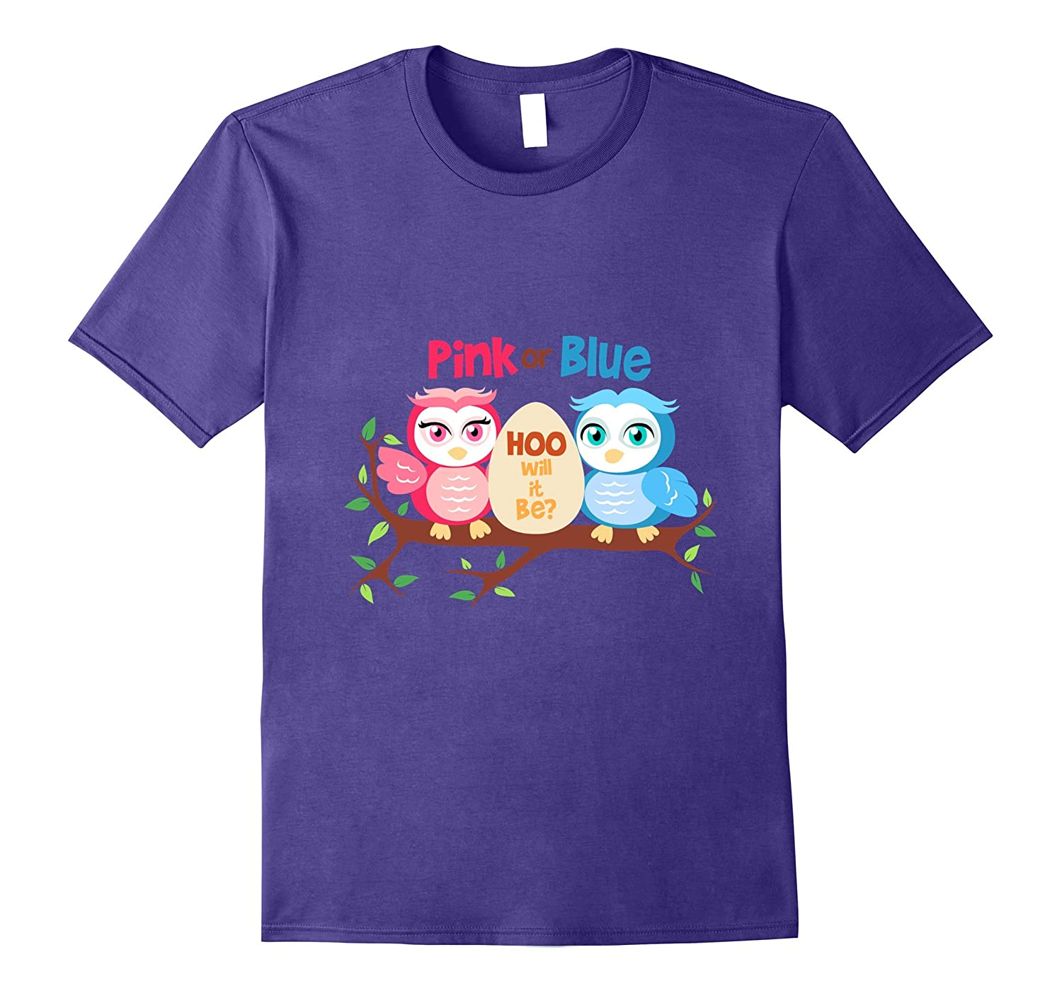 Gender reveal party t shirt owl pink or blue hoo will it be-Art