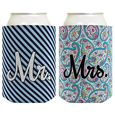 Wedding Coolie Mr Mrs Paisley Stripe Bridal Shower Bachelorette Gift 2 Pack Can Coolie Drink Coolers Coolies Premium Full Color