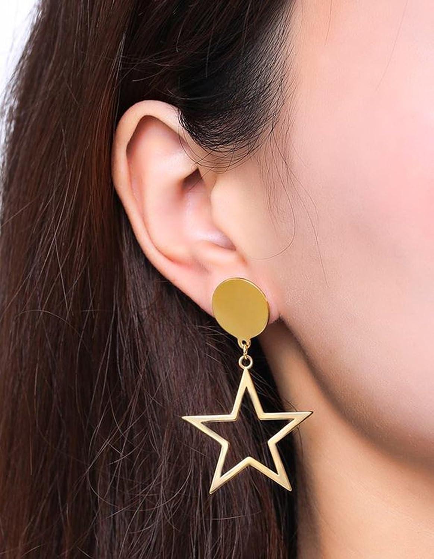 ANAZOZ Stainless Steel Earring for Women Stud Earrings Gold Star 3.1x5.2CM