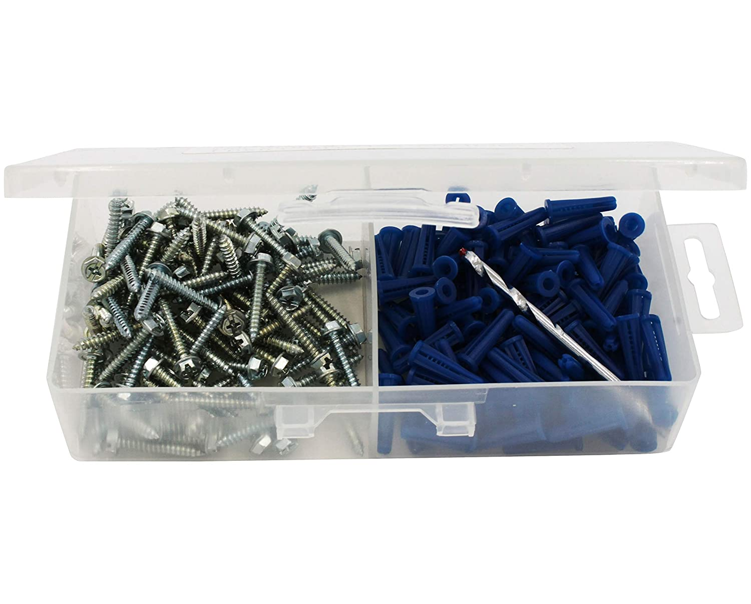 Plastic Drywall Anchor Kit with 8x1 Screws and 3//16 Drill Bit 100-Pack