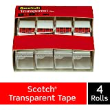 Scotch Transparent Tape, Versatile, Clear Finish, Engineered for Office and Home Use, 3/4 x 850 Inches, 4 Dispensered Rolls (4814)