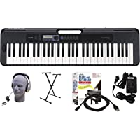 Casio CT-S300 61-Key Premium Keyboard Package with Headphones, Stand, Power Supply, 6-Foot USB Cable and eMedia…