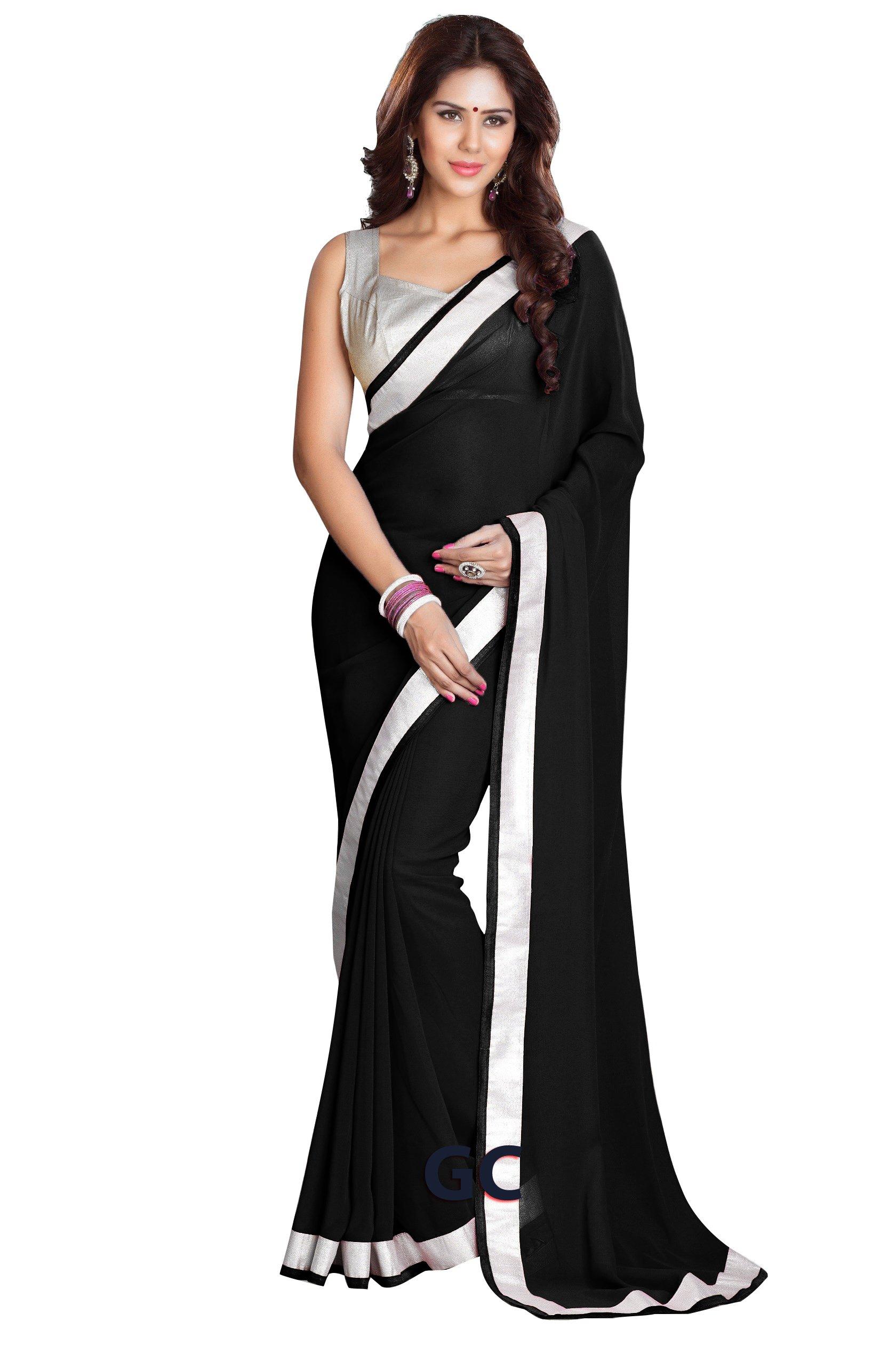 Chiffon Bollywood BellyDance Indian Saree Sari - SB Black by BombayFashions (Image #1)
