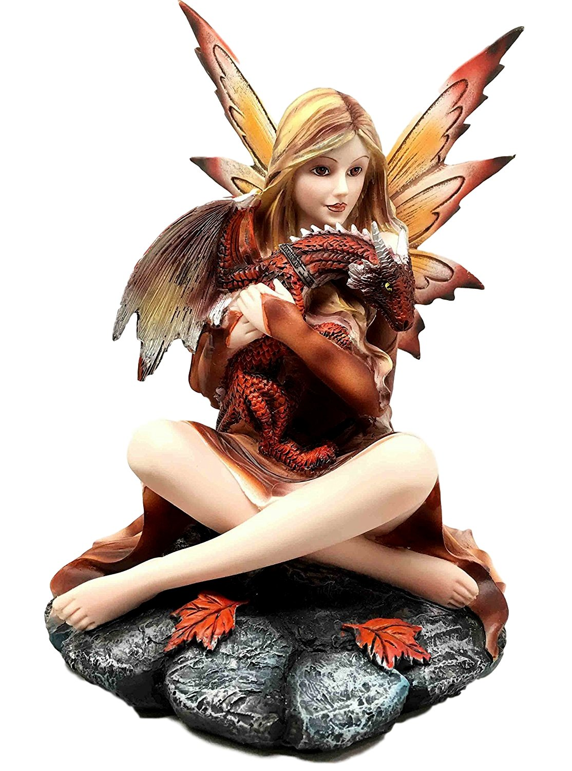 Fall season fairy figurine leaves red dragon hatchling