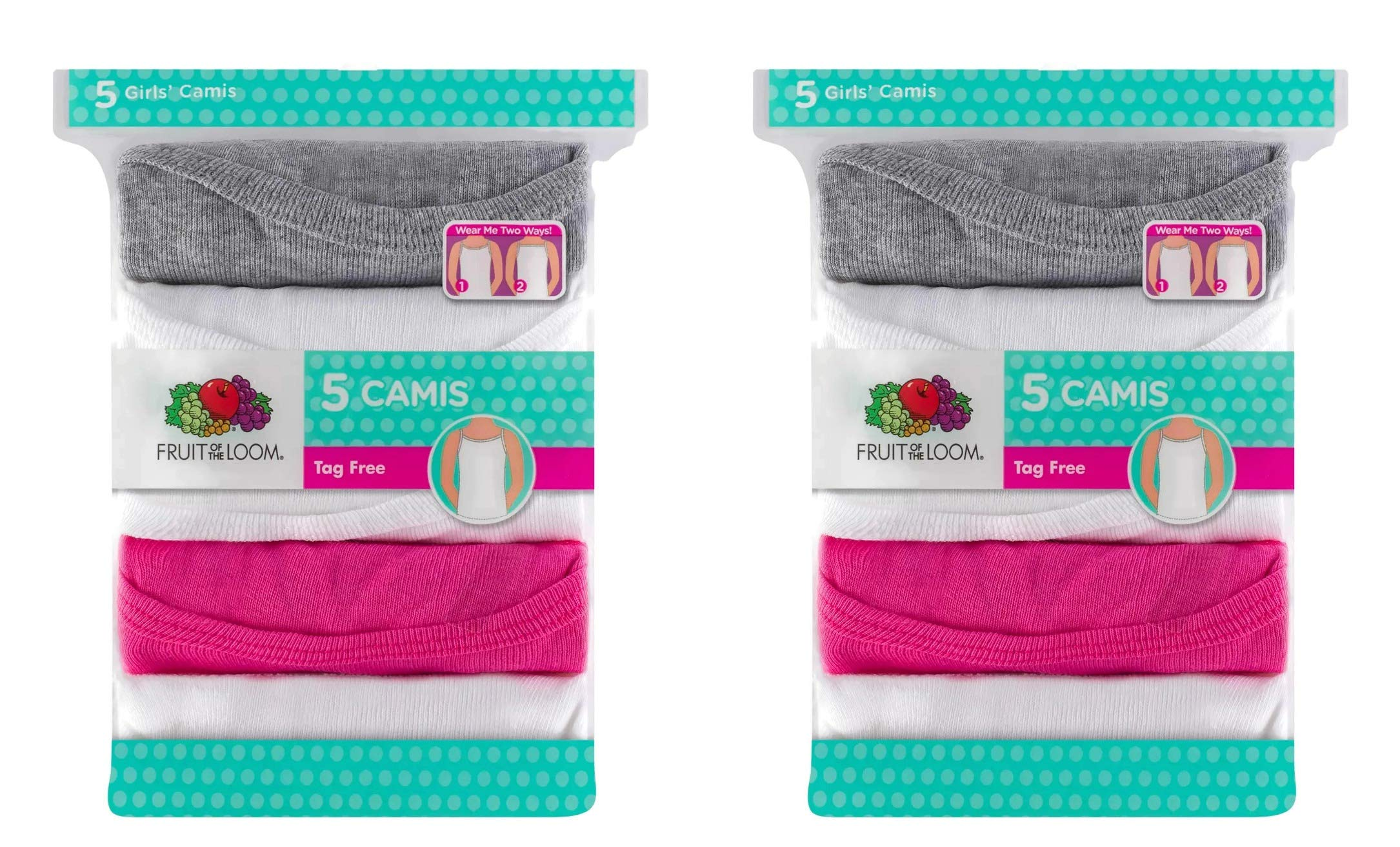 Fruit of the Loom Girls' Camis 10pk Assorted Camisole Tanks Undershirts by Fruit of the Loom