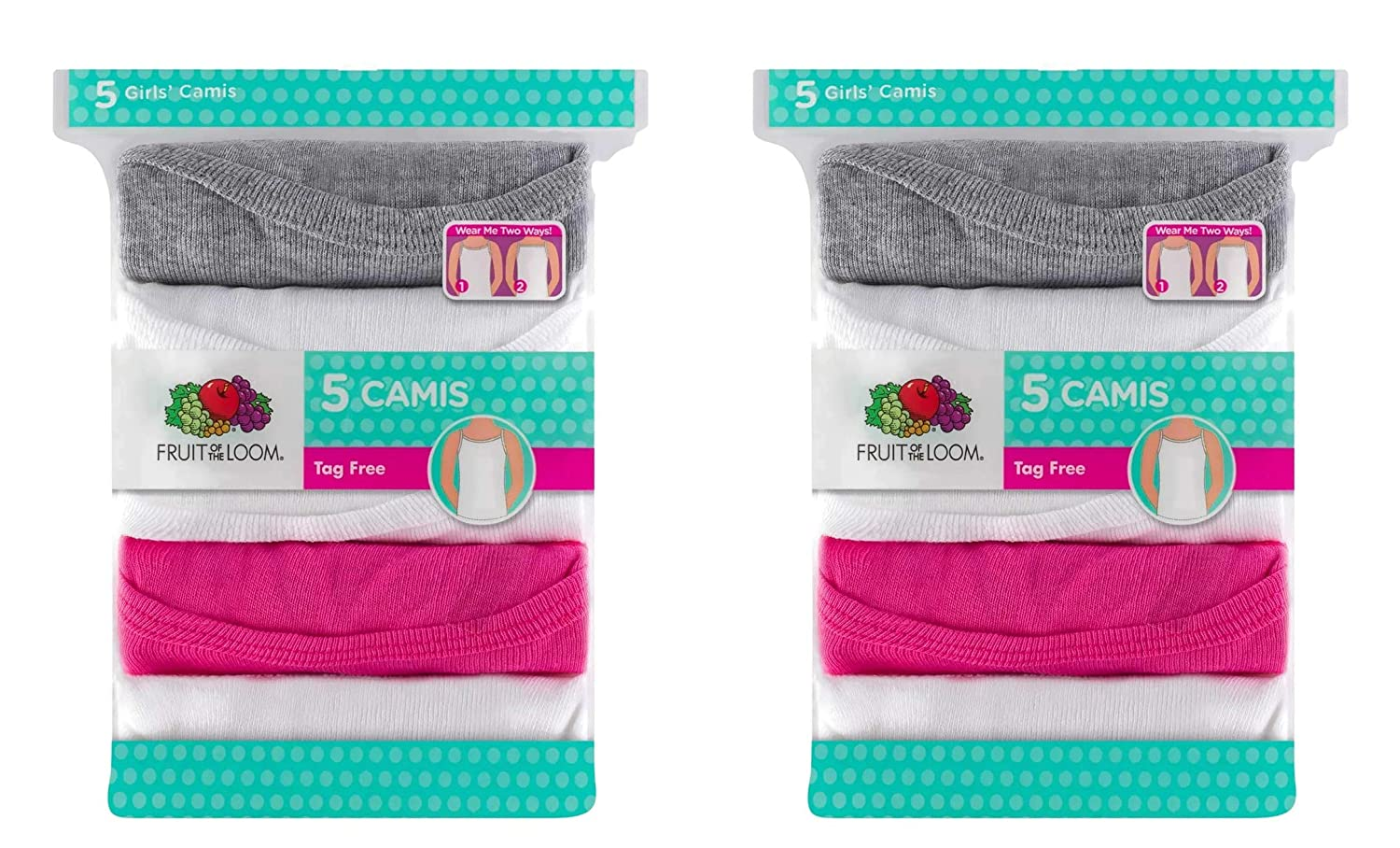 Fruit of the Loom Girls 5pk Assorted Cami