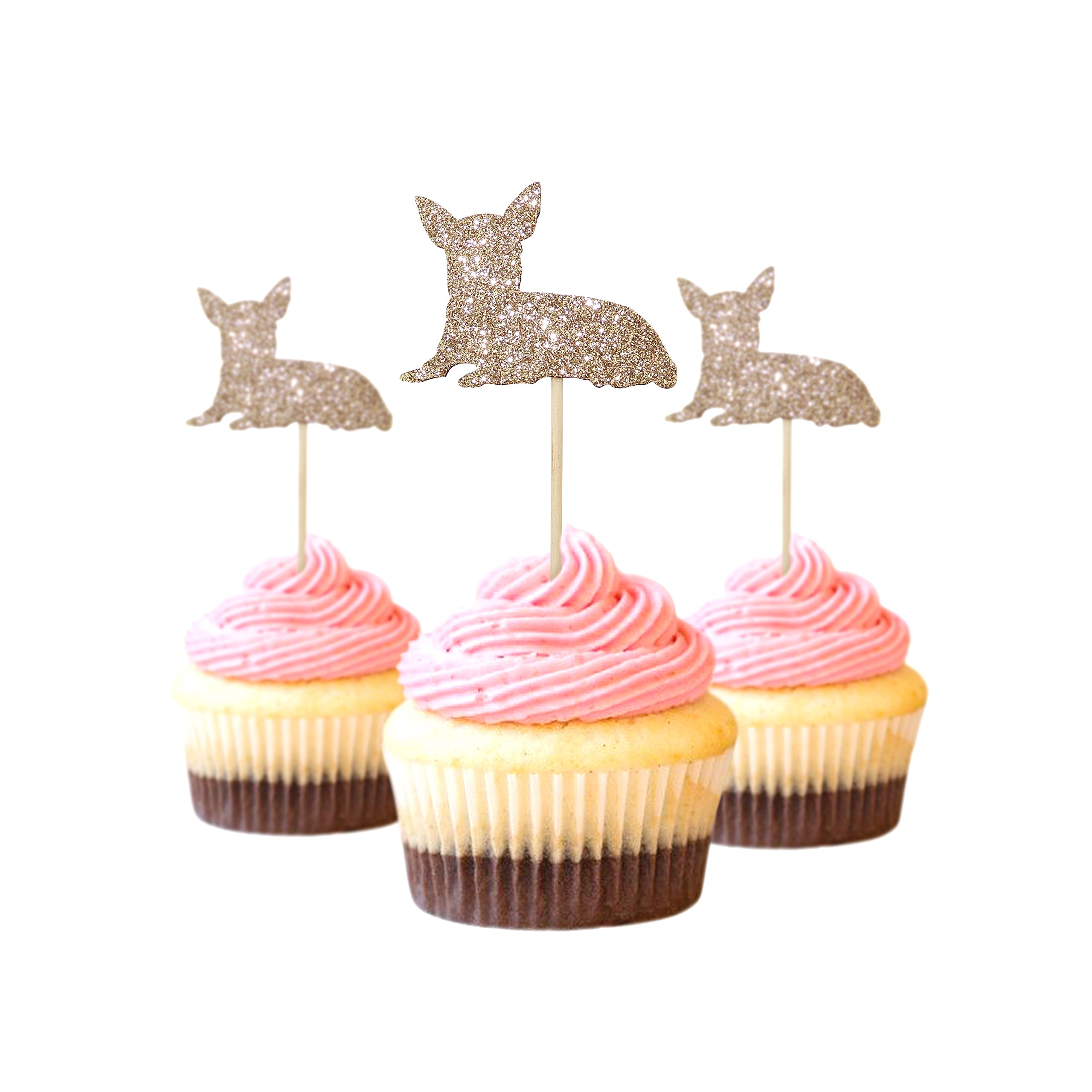 Chihuahua Cupcake Topper Glitter Foamy Beige Color 12 pieces per Pack Decoration pet birthday
