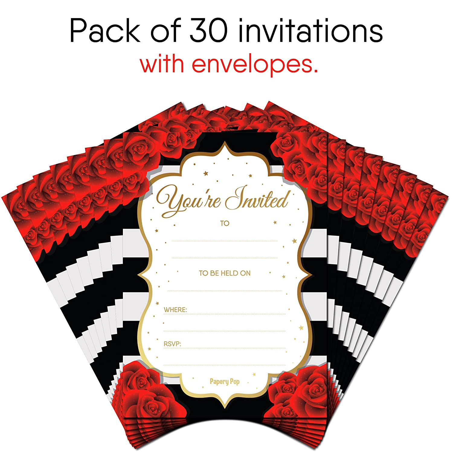 Amazon.com: 30 Invitations with Envelopes - Bridal Shower ...
