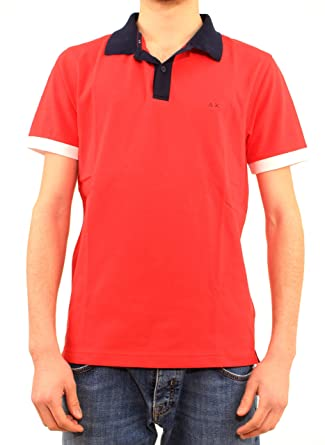 Sun68 - Polo para Hombre, Mod. Polo Rojo A19108 10 Rojo Rojo L ...