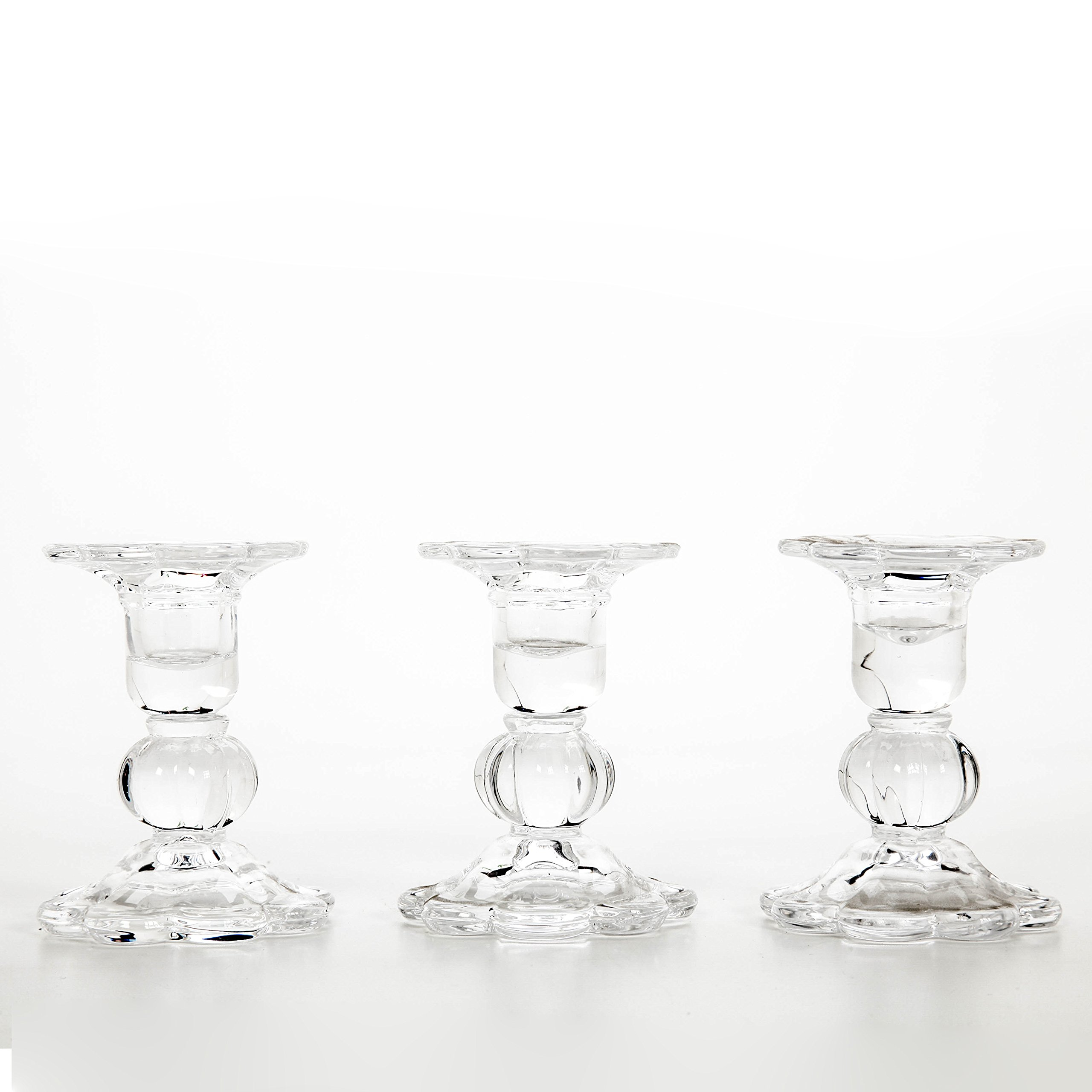 Hosley Set of 3 Glass Taper Candle holders - 3.9'' High. Classic Decor for Wedding, Party, Gifts. Bulk Buy, Spa, Aromatherapy W1