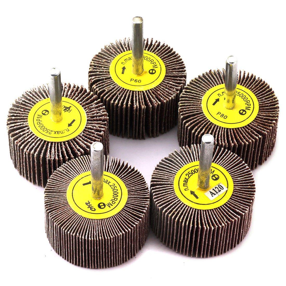 HJ Garden 5pcs 2x1 Inch Sanding Flap Wheels Kit 40/60/80/120/240 Grit Grinding Polish Wheel 1/4 Inch Shank Polishing Abrasive Mounted Flap Wheels