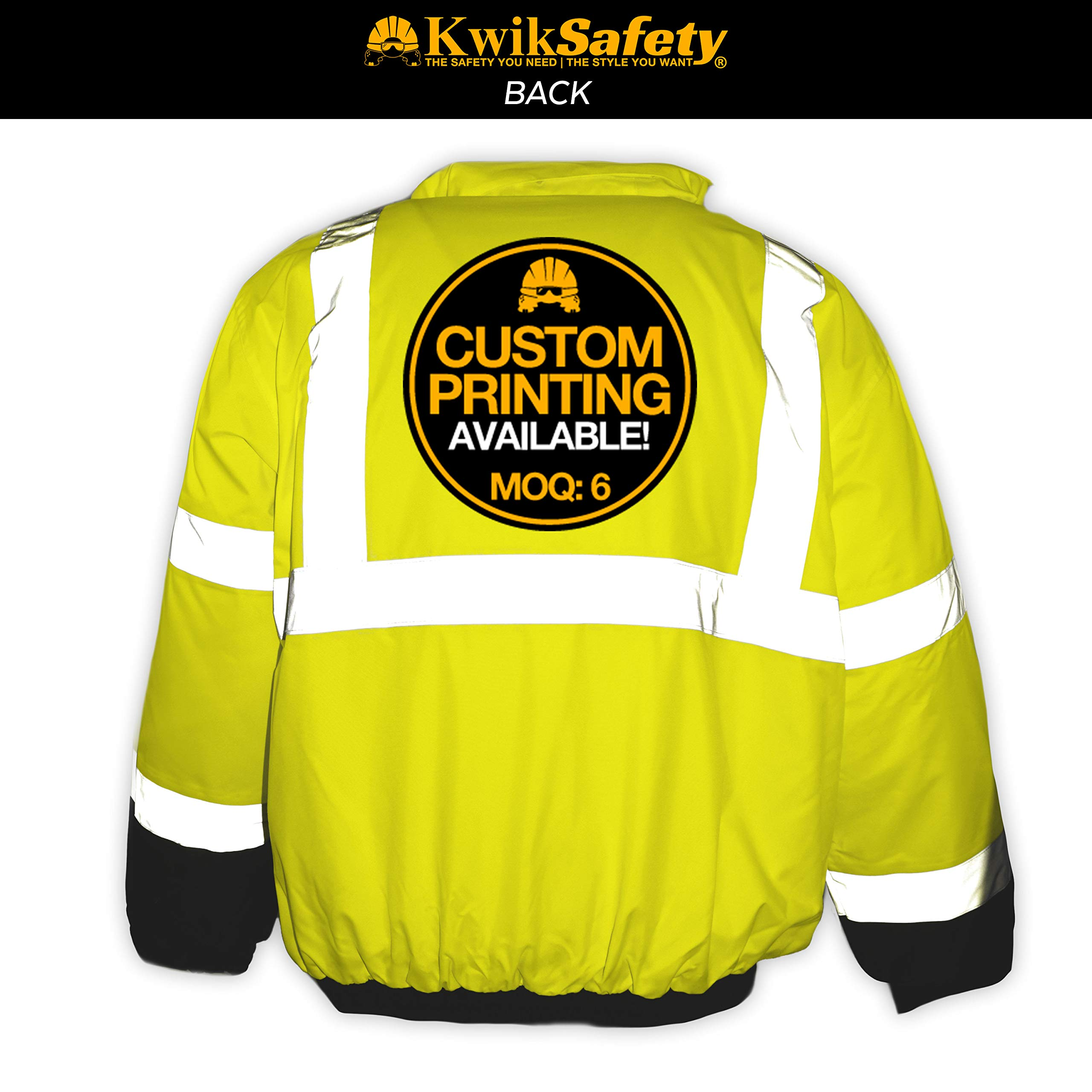 KwikSafety (Charlotte, NC) GUARD   Class 3 Black Cuff Safety Bomber Jacket   High Visibility ANSI OSHA PPE   Foldable Hood Reflective Winter Water Resistant Construction Workwear Men   X-Large by KwikSafety (Image #2)