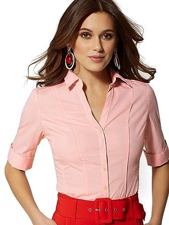 070b9f5aa19 Amazon.com: New York & Co. Women's Tall Plaid Madison Stretch Shirt ...