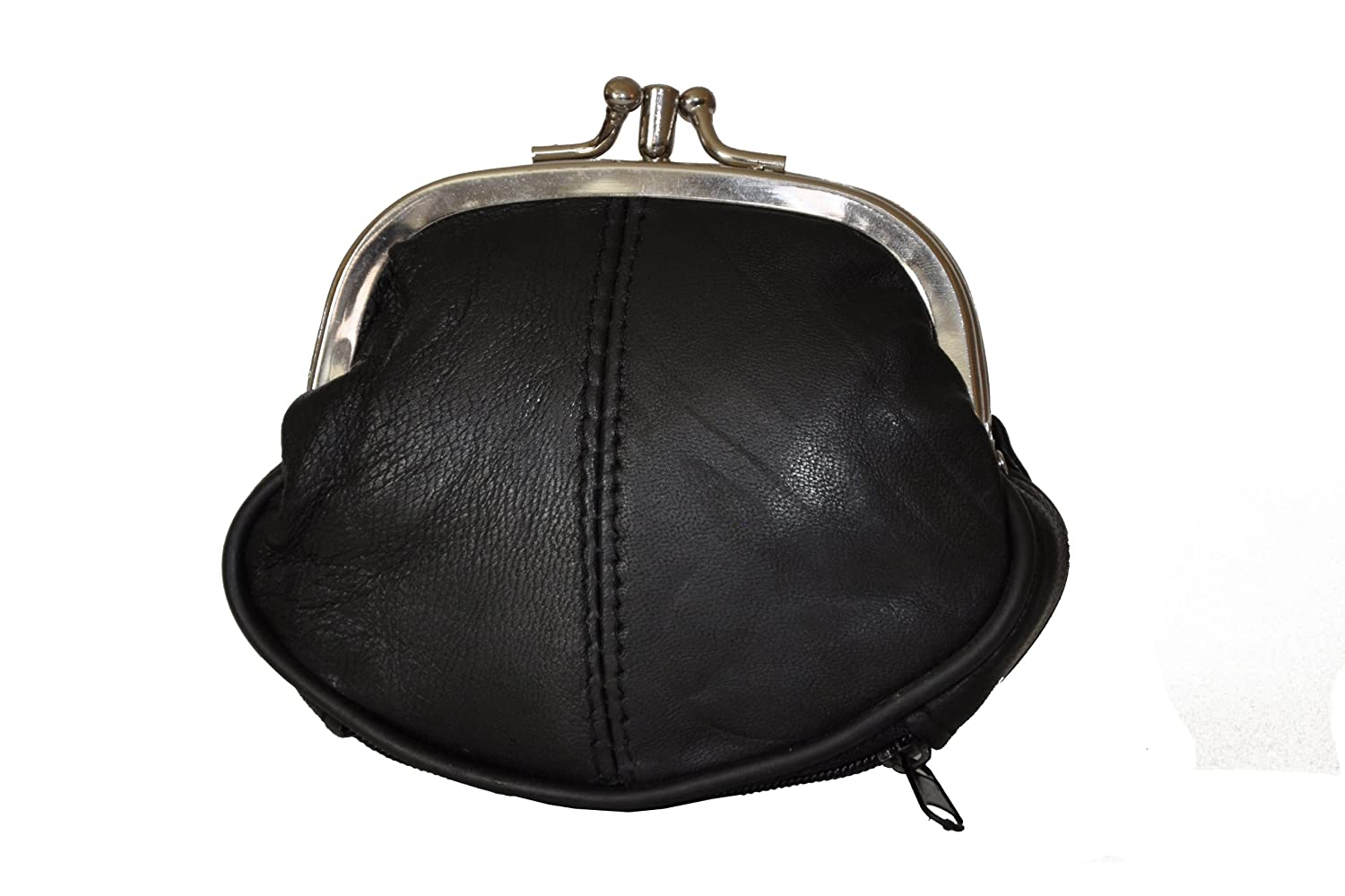 4ea0d997f80 Leatherboss Coin Purse Double Frame with Zipper Pocket - Black S 3.1 2