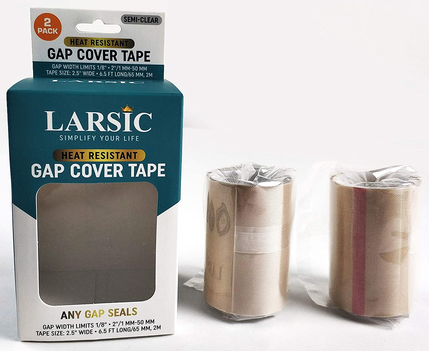 "Kitchen Stove Counter Gap Cover,Marble Tape Seals Between Counter Range,Burner,Washer,Dryer,Extra Wide & Long,Heat Resistant,Waterproof Tape Set of 2 (2.5""X78"", Semi Clear)"
