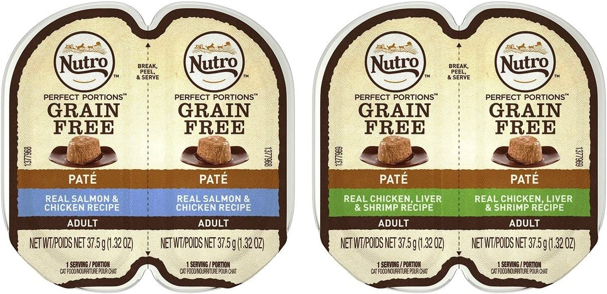 Nutro Perfect Portions Grain Free Soft Loaf Cat Food 2 Flavor 8 Can Variety Bundle, (4) Each: Salmon & Chicken, and (4) Chicken Liver & Shrimp - 2.6 Ounces (8 Cans Total)