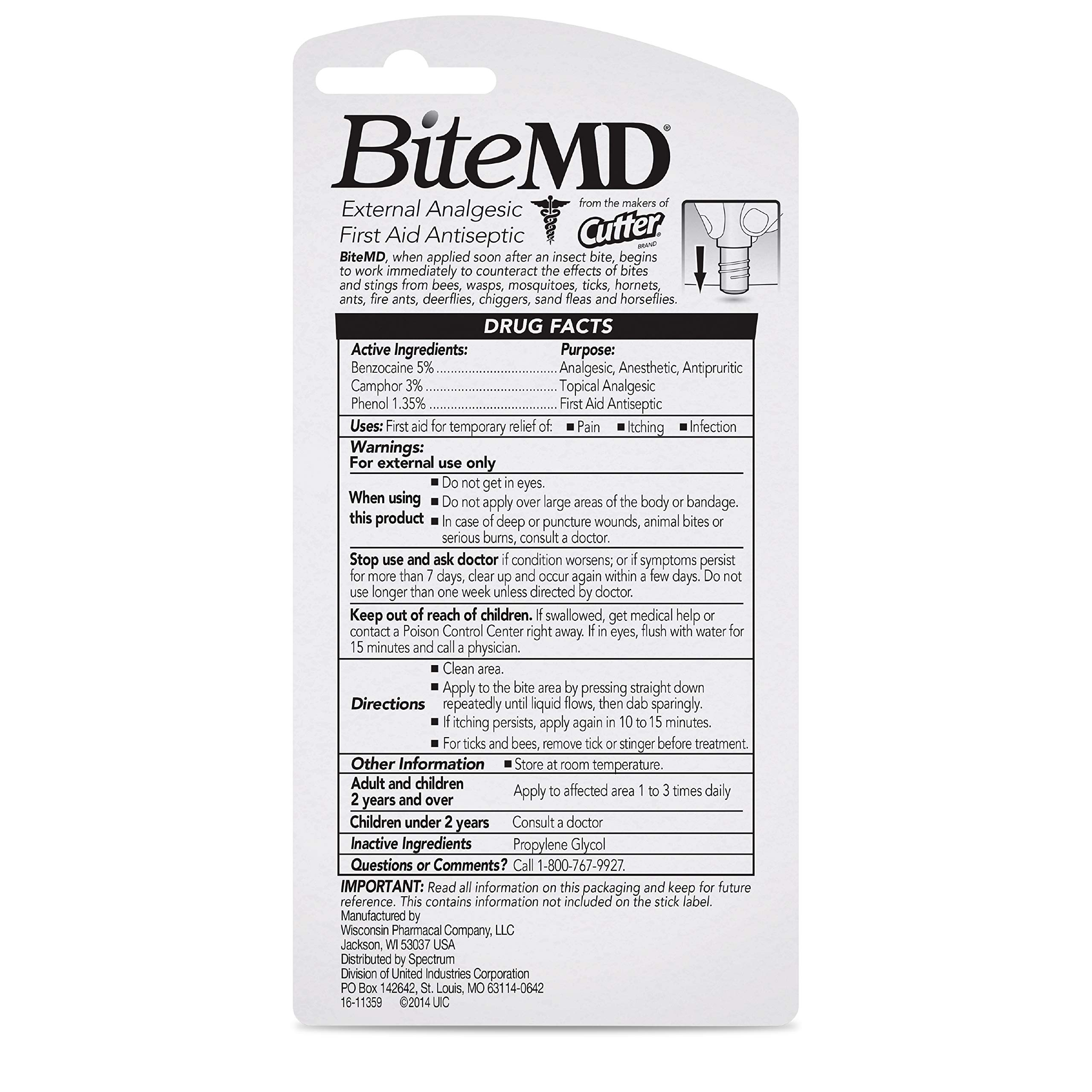 Cutter Bite MD Insect Bite Relief, Stick, 0.5-Ounce by Cutter (Image #3)
