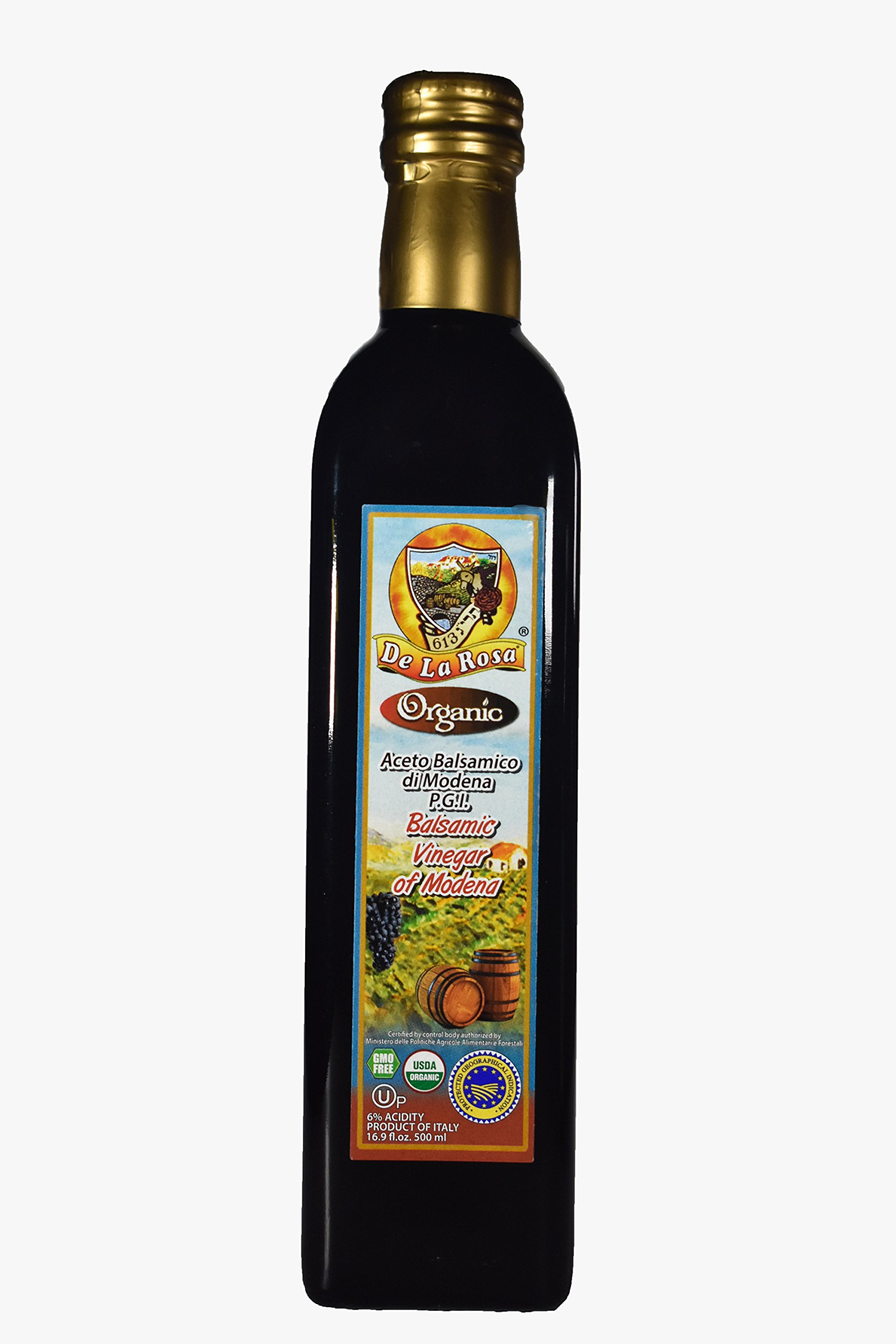 De La Rosa Real Foods & Vineyards - Organic Balsamic Vinegar of Modena (16.9 oz/500 ml) 1 100% Organic Balsamic Vinegar of Modena Kosher for Passover & all year around USDA Certified Organic. Vegan. GMO-Free. Gluten Free. No additives or Preservatives added