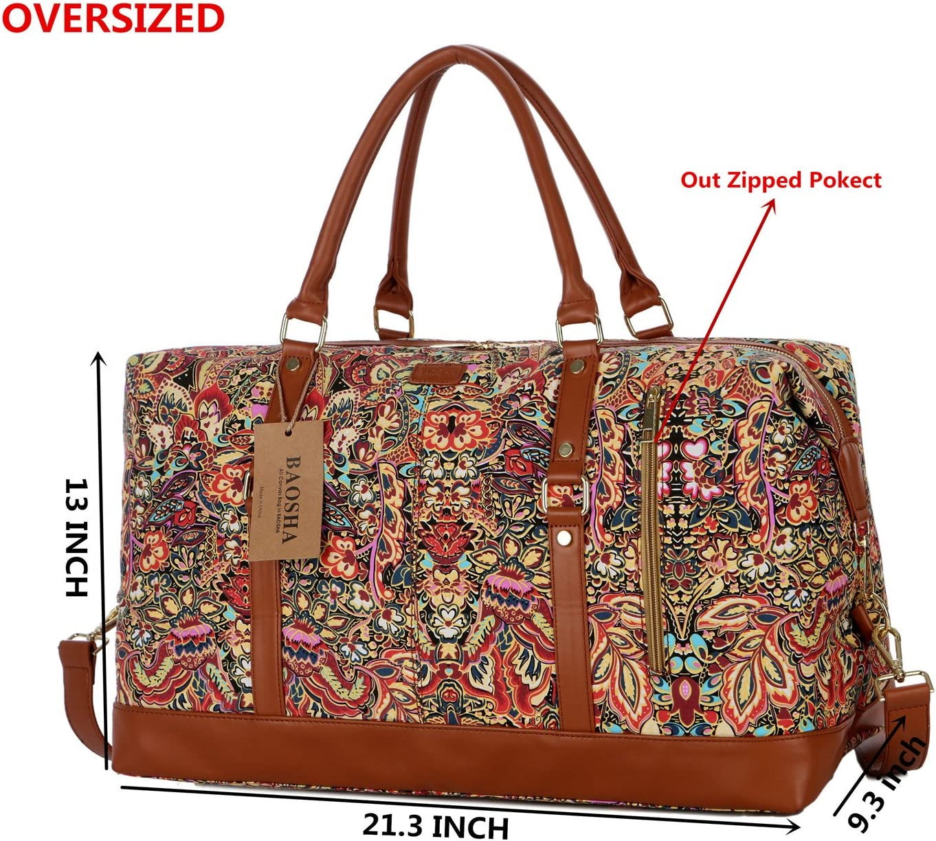 BAOSHA OVERSIZED HB-14 Travel Duffel Bag Carry on Weekender Overnight Bag For Women Multicolour
