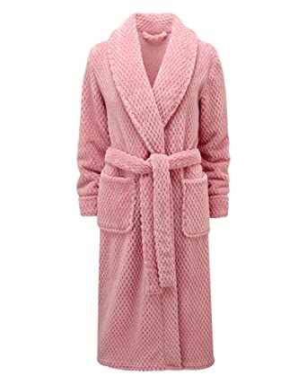 Cotton Traders Womens Ladies Dressing Gown Shawl Collar Hanging Loop  Polyester Size 26 Warm Blush 0611bf0c5