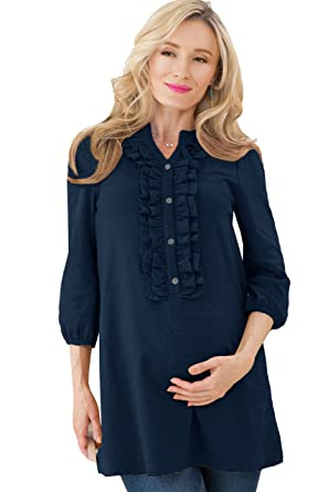 b8029dba19b Sweet Mommy Maternity and Nursing Ruffled Front Tunic Top 3/4 Sleeves Navy,  F