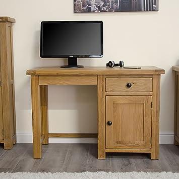 Original Rustic Solid Oak Furniture Small Office Pc Computer Desk