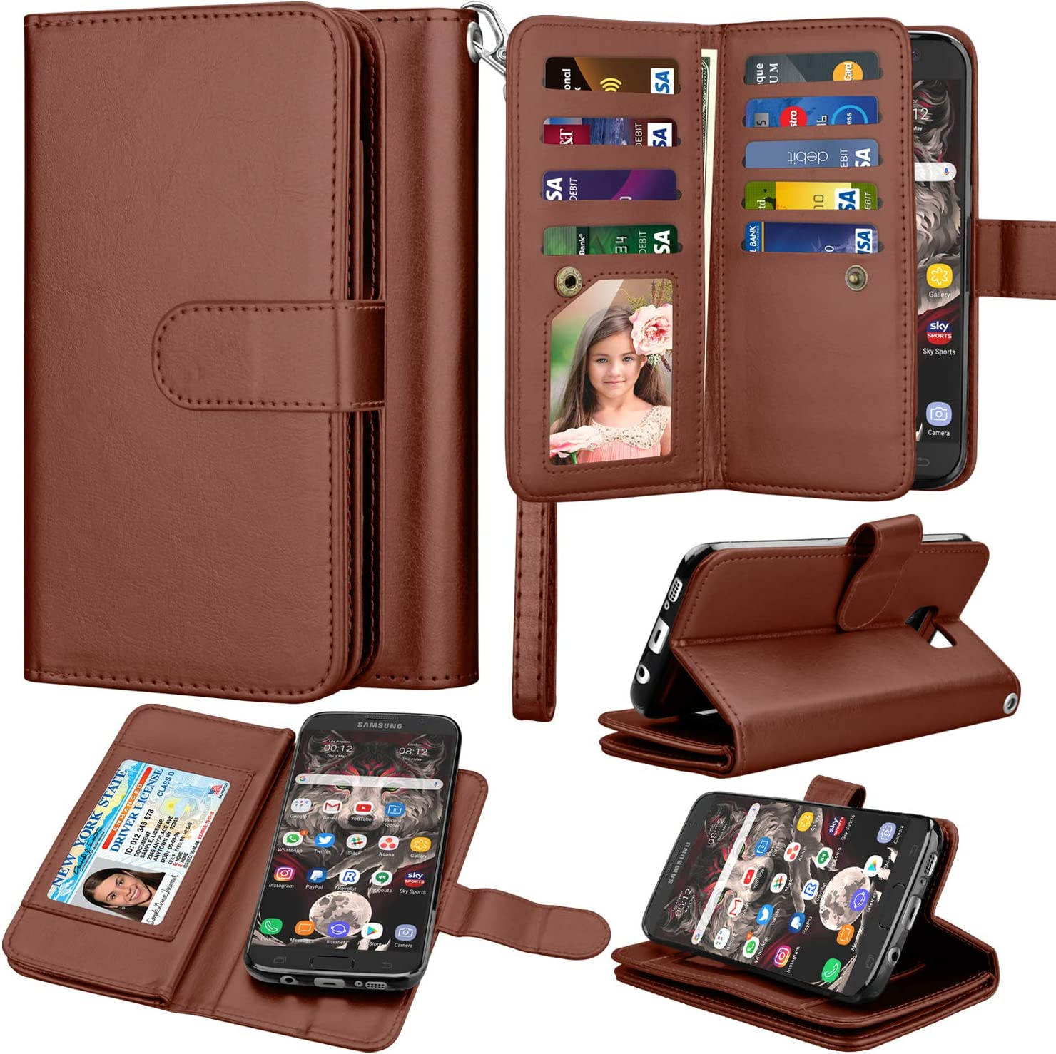 Takfox Wallet Case for Samsung Galaxy S7 Edge, Galaxy S7 Edge Case Wallet PU Leather with 9 Card Slots Holder Folio Flip Magnetic Detachable Phone Case & Wrist Strap for Samsung Galaxy S7 Edge-Brown