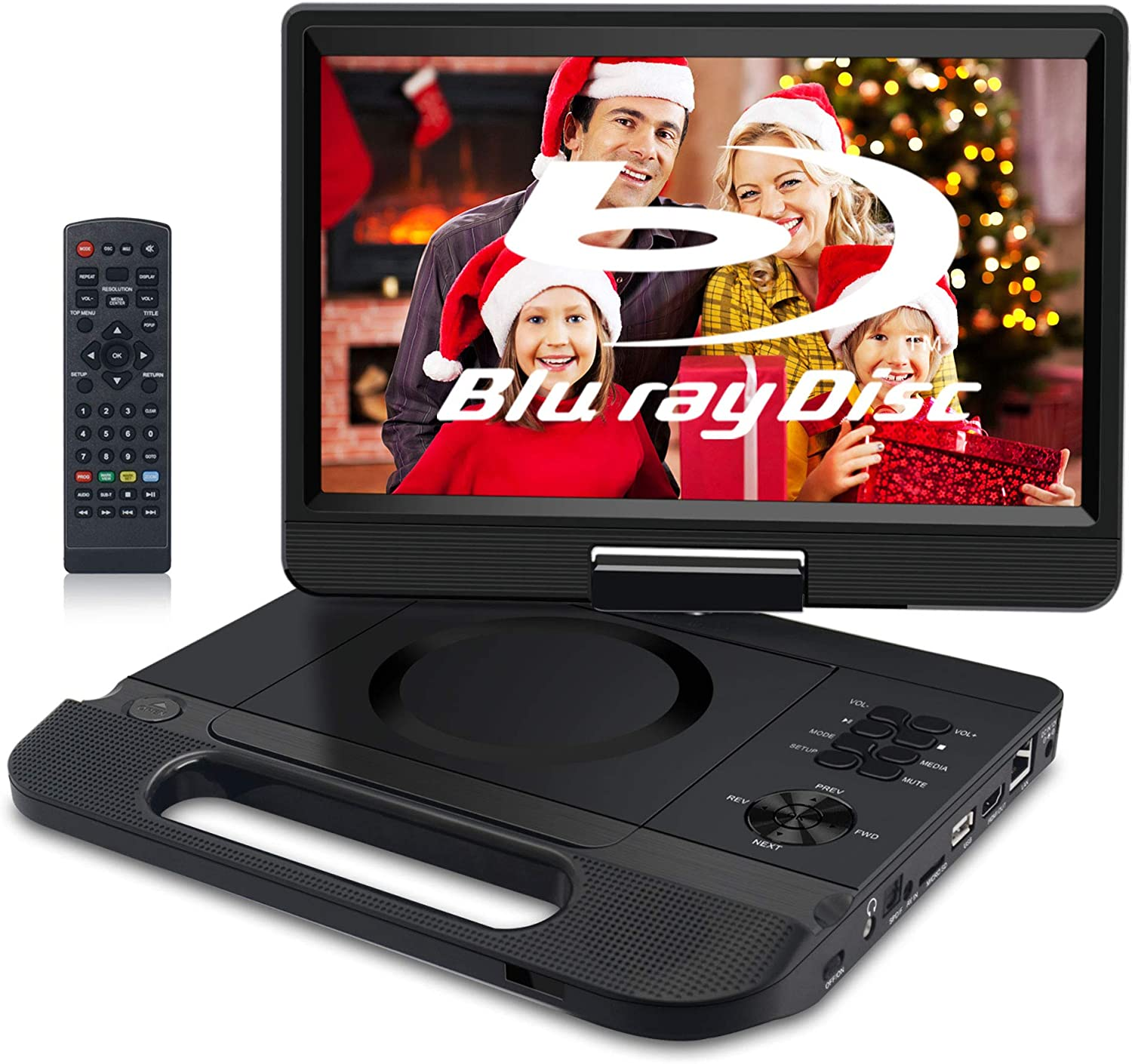 FANGOR - Reproductor de DVD de Blu-Ray portátil de 10,1 pulgadas con batería recargable, compatible con Full HD 1080P, Dolby Audio MP4 / USB/ SD/ MMC, pantalla de sincronización con HDMI Out / AV in