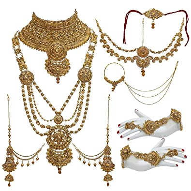 35ed1c6f8 Buy Lucky Jewellery Alloy Gold Plated Jewellery Set for Women(Golden ...