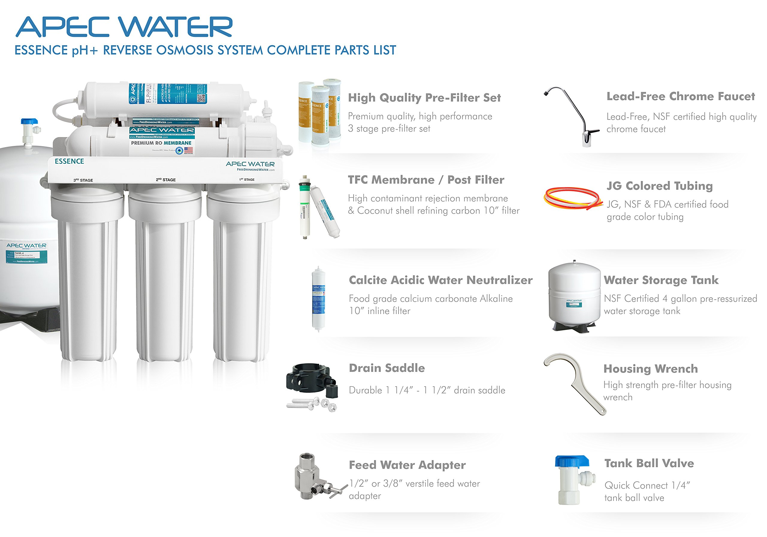 APEC Top Tier Alkaline Mineral pH+ 75 GPD 6-Stage Ultra Safe Reverse Osmosis Drinking Water Filter System (ESSENCE ROES-PH75) by APEC Water Systems (Image #3)