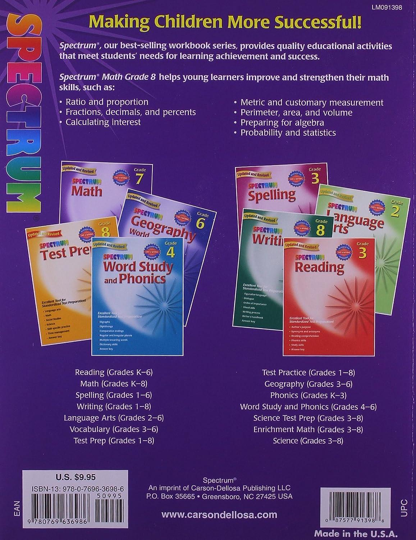 Workbooks 9th grade summer workbooks : Spectrum Math: Grade 8 Workbook: Thomas Richards: 0087577913988 ...