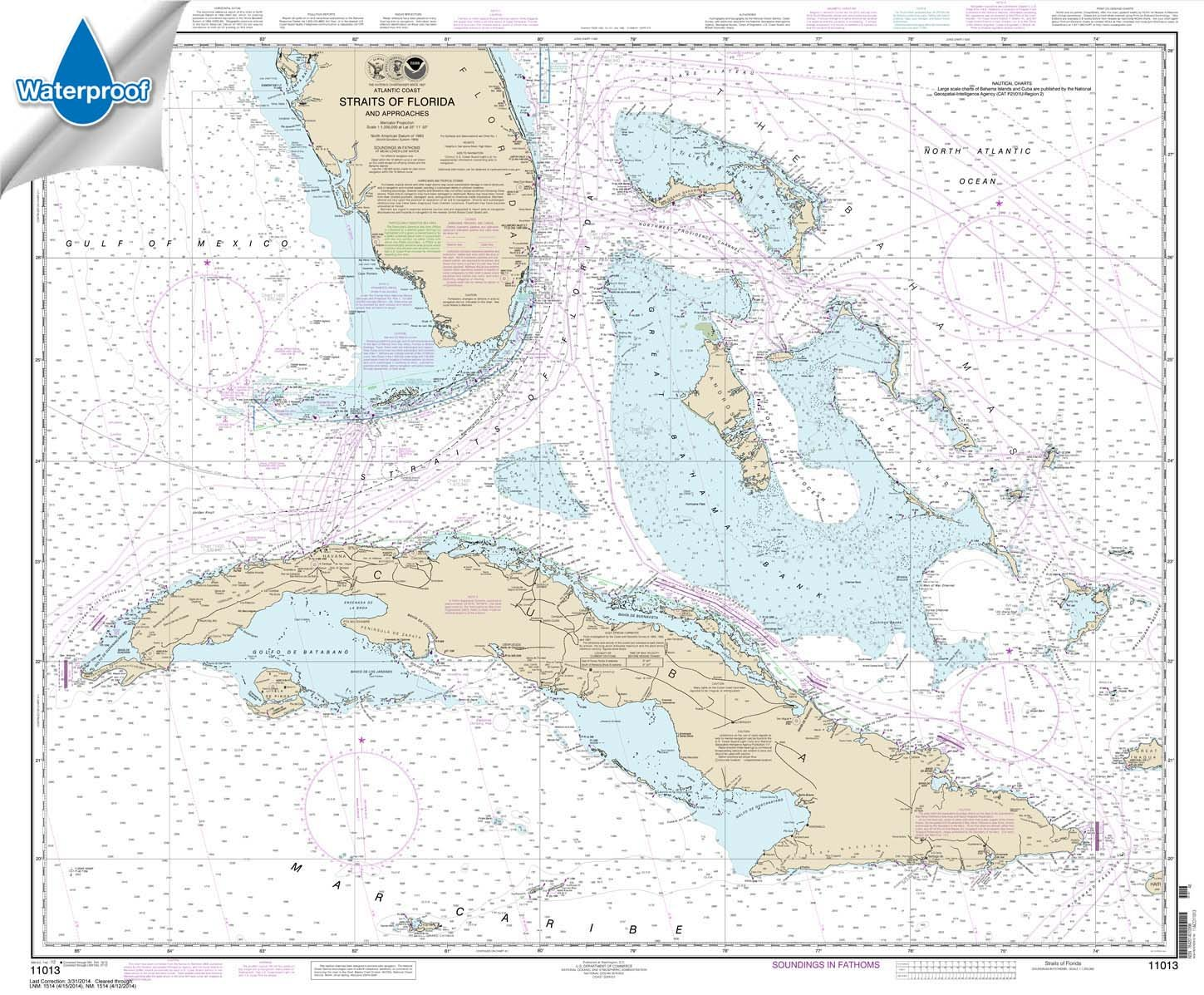 Paradise Cay Publications NOAA Chart 11013: Straits of Florida and Approaches, 35.5 X 43, WATERPROOF by Paradise Cay Publications