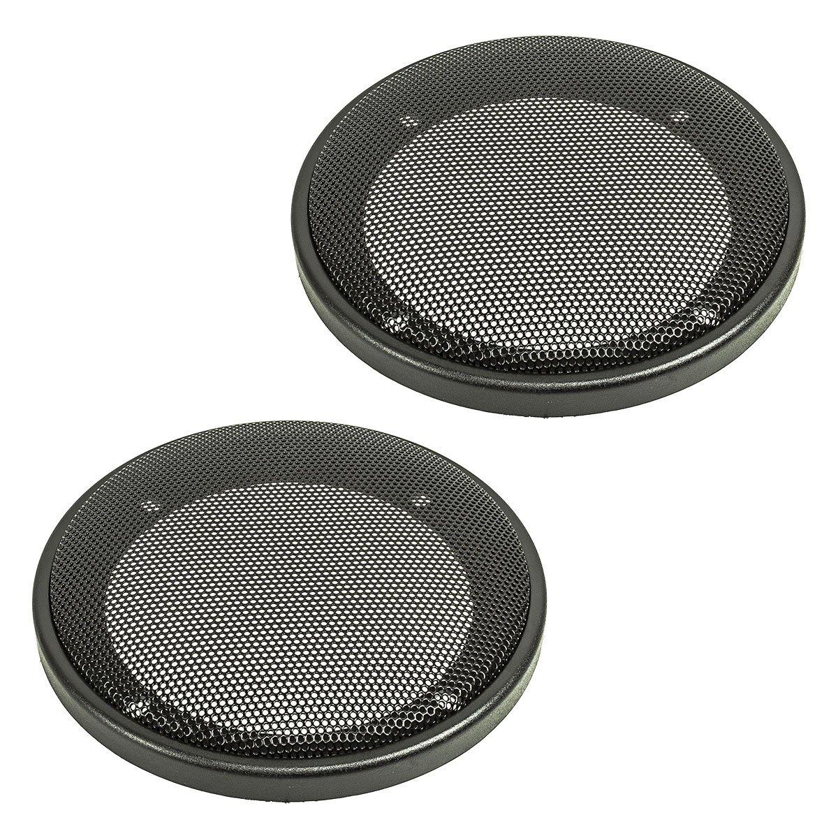 tomzz Audio ® 2800-000 Lautsprecher Gitter Grill für 100mm DIN Lautsprecher, schwarz, 2-teilig Kunststoffring mit Metallgitter, Satz