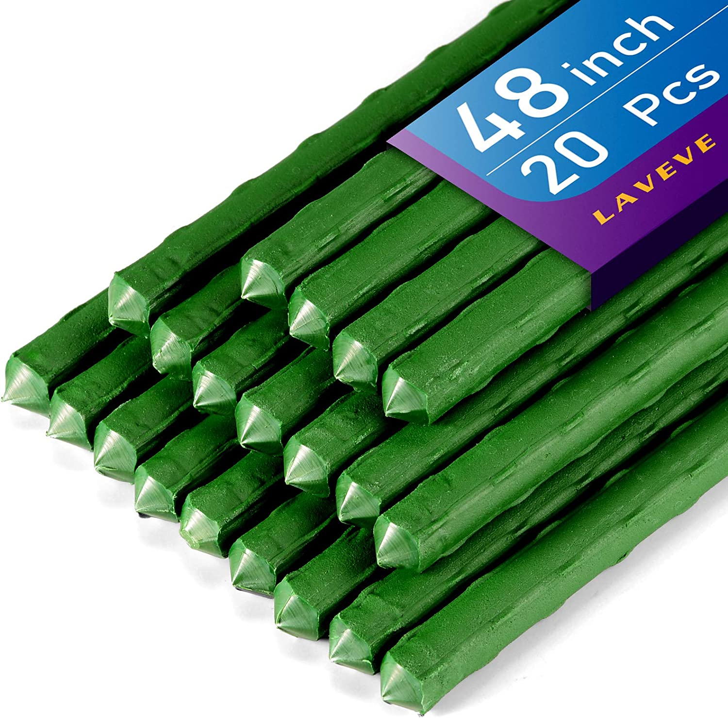 LAVEVE Garden Stakes for Plants 48'' / 4ft - 20 Pcs Metal Plant Support Tomato Stakes for Vegetables, Climbing Plants, Plants Cage, Cucumber, Beans, Tree