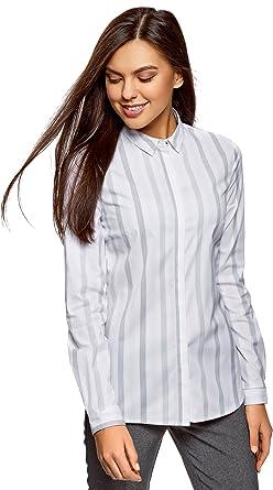 oodji Ultra Mujer Camisa Entallada a Rayas, Gris, ES 36 / XS: Amazon.es: Ropa y accesorios