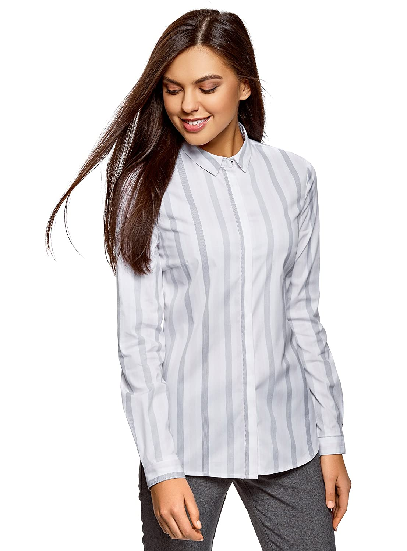 TALLA S. oodji Ultra Mujer Camisa Entallada a Rayas